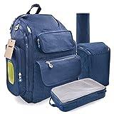 Mochila Pañales Bolso de bebé Cambiador Multifuncional Mochila Panal De Viaje Con Cambiador Y Gran Capacidad Azul