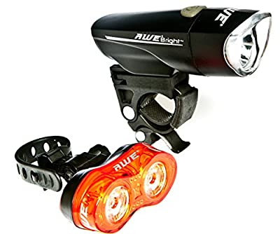 AWE AWEBrightTM 1 x Super Bright Front LED & 0.5W x 2 Rear LED's Bicycle Light Set 140 Lumens by AutoMotion Factors Limited