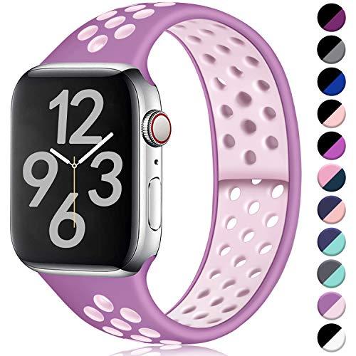 Hamile Correa para Apple Watch 38mm 40mm, Doble Color Pulsera de Repuesto de Silicona Suave Transpirable Correa para Apple Watch Series 5/4/3/2/1, S/M Púrpura/Arena Rosado