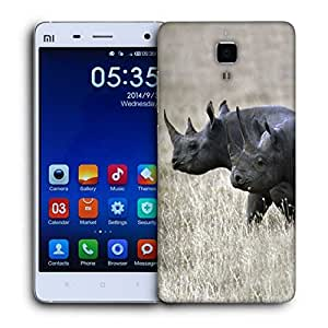 Snoogg Black Rhino Printed Protective Phone Back Case Cover for Xiaomi Mi 4