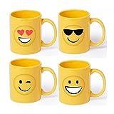 DISOK Lote 20 Tazas de Cerámica Emoticonos - Tazas Emoticonos, Emojis, Ideal para Detalles de Comuniones Niños. Tazas para Cumpleaños, Originales