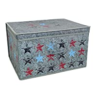 Stars Foldable Pop up Room Tidy Storage Chest Toy Box for Girls and Boys, Fabric, Grey, 50 x 30 x 40 cm