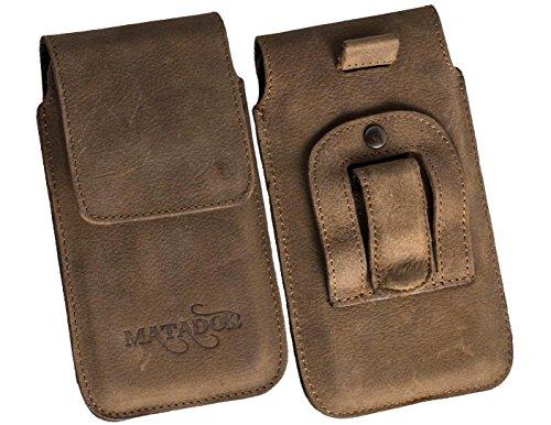 Flap-tasche Slim-jeans (Slim Design Vintage Look Antik Echt Ledertasche für HTC Desire SV Handytasche Gürteltasche Vertikaltasche von Matador in Tabacco mit Magnetverschluß und Gürtelclip und Gürtelschalufe (Lasche mit Rückzugfunktion und Ausziehhilfe))