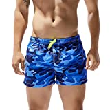 IZHH Shorts für Männer, Badehosen Badebekleidung Kurze Hosen Boardshorts Strand Surfen Hawaii Hose Shorts Schnell Trocknen Laufen Schwimmen Wassershort Beachvolleyball-Shorts(Blau,S)