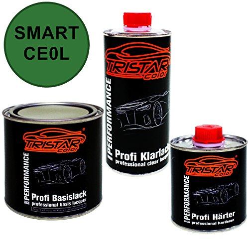 Preisvergleich Produktbild 1,25 Liter 2K Lack Set SMART CE0L ELEKTROGRUEN M. / EV3 GREEN M. ab 2012 - Profi Autolack spritzfertig & Klarlack & Härter