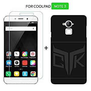 TheGiftKart Combo of Velvet Feel Hard Back Cover (Jet Black) + HD Tempered Glass for Coolpad Note 3 PLUS / Note 3