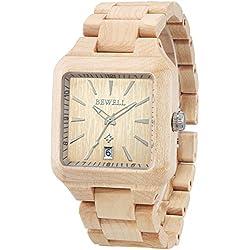 Alienwork Quartz Watch natural solid wood Wristwatch Handmade Maplewood yellow yellow UM110A-01