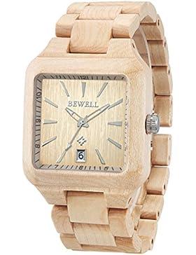 Alienwork Quarz Armbanduhr massive Naturholz Uhr Herren Uhren Damen handgefertigt Ahornholz Holz gelb UM110A-01