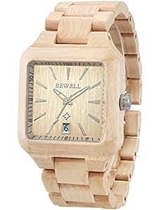 Alienwork orologio quarzo legno massello naturale uomo for Orologio legno amazon