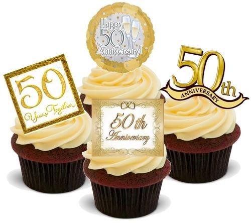 50.GOLDENE HOCHZEIT - 12 essbare hochwertige stehende Waffeln Kuchen Toppers - GOLDEN 50TH WEDDING ANNIVERSARY MIX A