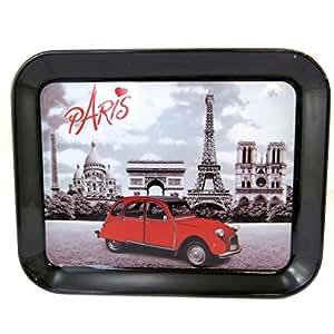 Les Trésors De Lily [M1337] - Petit plateau 'Week-end à Paris' noir blanc vintage (15x20 cm)