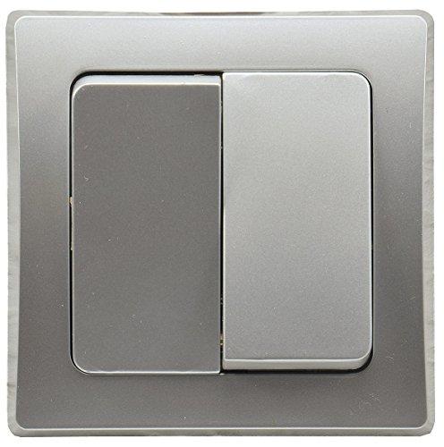 Delphi 2-Fach Serien-Schalter Doppel-Schalter 250V 10A inkl. Rahmen Unterputz Silber -