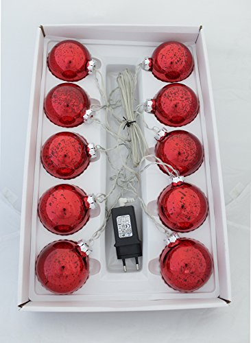DECOLINE LED Weihnachtskugeln 10 Stück Ø 7cm (mit Netzstecker - rot)