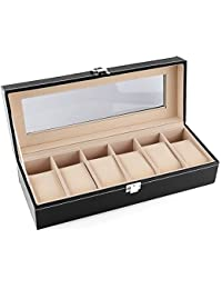 FEMOR Uhrenbox für 6 Uhren Uhrenkoffer mit Glasfenster Box Kasten für Uhrenaufbewahrung aus Kunstleder Schwarz
