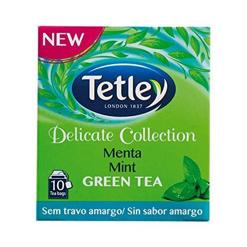 Tetley Delicate Collection GREEN TEA & MINT (Tè verde e menta) busta tè confezione da 10 x 10 scatole