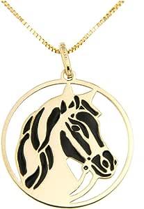 forme di Lucchetta per Donna - Collana in Vero Oro Giallo con Cavallo Baio o Morello realizzati su Medaglia Pendente - 45cm - Made in Italy Certificata