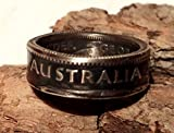 Coinring, Münzring, Ring aus Münze (1 Shilling, Australien 1950), 500er Silber - Double Sided coin ring - Größe 54 (17.2), handgeschmiedetes Unikat
