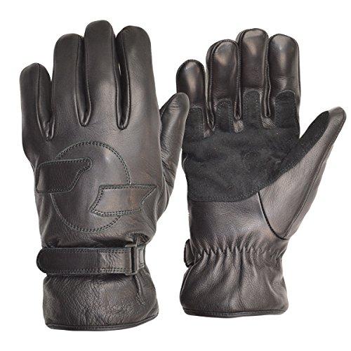 Goldtop Schwarz Leder Vlies gefüttert kurze Harley Bobber Kreuzer Stil Motorrad Handschuhe mit Doppel verstärkte Palmen