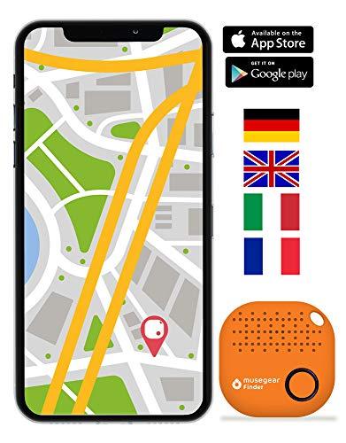 musegear® Schlüsselfinder mit Bluetooth App I Version 2 I Keyfinder laut für Handy in orange I GPS Ortung/Kopplung I Schlüssel Finden Gps-bluetooth-handy