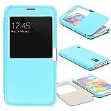 Urcover® View Case Handy Schutz-Hülle | Samsung Galaxy S5 | Hart Kunststoff Hell Blau | Elegant Wallet Cover Sicht-Fenster | leichte Schale dünne Tasche