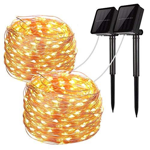 Solar String Lights, 2 Pack 100 LED Luci Fata Solare 33 Ft 8 modalità Filo di Rame Luci Impermeabile All'aperto Stringa Luci per Giardino Patio Gate Yard Festa di Nozze (2-Pack Solare Caldo)
