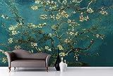 Yosot Branches D'Amande Murale Par Van Gogh Peint Des Murales Pour Les Murs De Papier Peint 3D Fond Plat-140Cmx100Cm