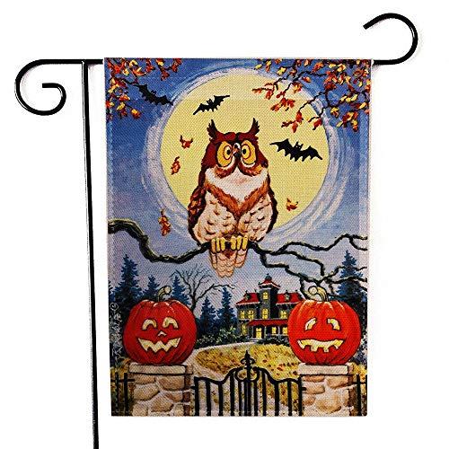 lloween Deko 47x 33cm Double Side Spooky Eule Kürbis Halloween Garten Flagge ()
