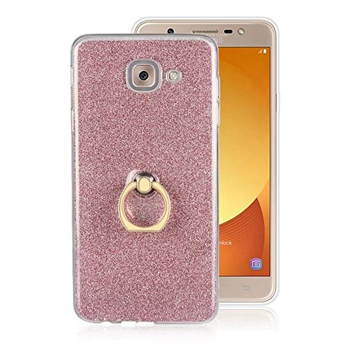 Soft Flexible TPU Back Cover Case Shockproof Schutzhülle mit Bling Glitter Sparkles und Kickstand für Samsung Galaxy J7 Max ( Color : White ) Pink