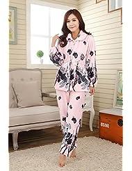 &zhou pijamas mujer ocio Rebeca mantenga invierno cálido pijamas gruesos conjuntos de ropa hogar , pink , l