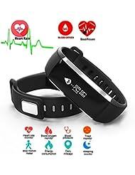 ROGUCI pulsera inteligente pulsera, oxígeno IP67 a prueba de agua de la presión arterial + oxímetro monitor del ritmo cardíaco cansada de la aptitud del sueño Health Tracker, pulsera de seguimiento inteligente de Deporte Para iOS 8.0 Android 4.4, el kilometraje diario de calorías podómetro podómetro quemado medición de llamada SMS recordatorio sedentaria