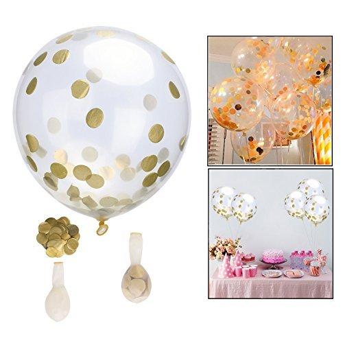 Itian 12 Piezas Globos con Confeti Dorados Globos, Decoraciones de Fiesta y Celebración