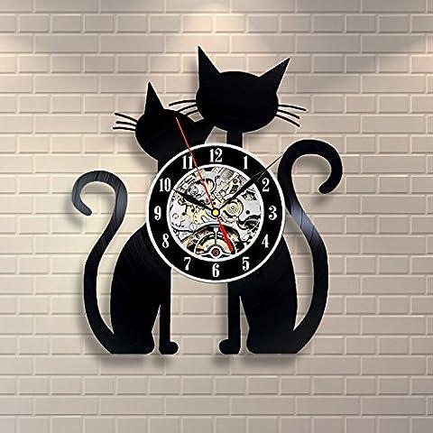 Cat Vinyl Record Clock Home Design Room Art Decor Animals