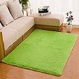 """Gemini_mall® weicher Hochflor Teppich im """"Shaggy-Stil"""", für Wohnzimmer, Schlafzimmer, Fußmatte, einfarbig, grün, 40x60cm ( 1ft3"""