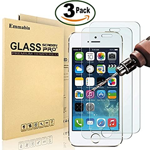 [3 Pack] iPhone 5 5S 5C SE Screen protector, Emmabin 0.26mm 9H Tempered Glass Shatterproof Screen Protector Anti-Shatter Film for iPhone 5 5S 5C SE 4