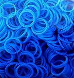 Rainbow Loom Bands - Lot de 300 élastiques en silicone bleu, 1 crochet et 12 fermoirs pour Loom Bands