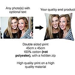 Personalised Cushions - Taie d'oreiller personnalisable avec photo imprimée - Sur mesure - 45cm - Coton - Impression de n'importe quel photo des deux côtés