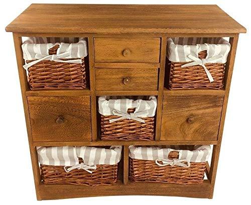 Möbelschrank mit 4 Schubladen und 5 Körben, rustikales Möbel, Holzschrank mit 5 Korben