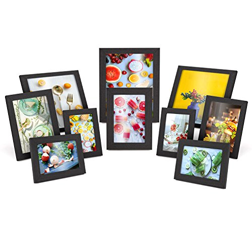 MVPOWER Set de Marcos de Fotos 4pcs x 10*15cm + 3pcs x 13*18cm + 2pcs x 20*20cm + 1pcs x 20*25cm Color Negro
