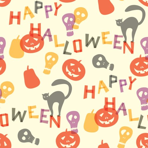 Berlintapete - Wallpaper On Demand - Designtapete - Seasonal - Gelbes Halloween Vektor Ornament Nr. 13586