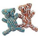 Motif tressé-Ours Jouets en corde pour chien chiot chat jouet à mâcher couleur aléatoire