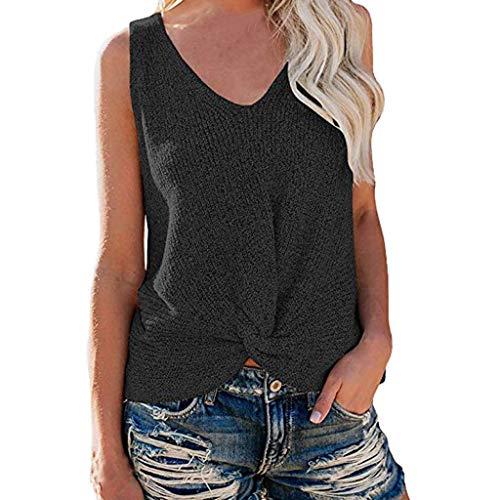 Yvelands Damen Weste Sommer V-Ausschnitt Ärmelloses T-Shirt Pullover Knoten Beiläufige Lose Strick Tank Tops(Schwarz,XL) -