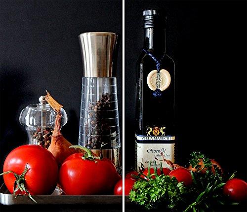 DAMU |Ceranfeldabdeckung 2 Teilig 2x30x52 cm Herdabdeckplatten Küche Elektroherd Induktion Herdschutz Spritzschutz Glasplatte Schneidebrett Rot Tomate