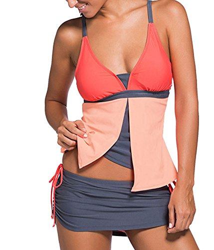 Choose Women Due pezzi con scollo a V Colorblock Tankini Pantskirt costume da bagno Arancione