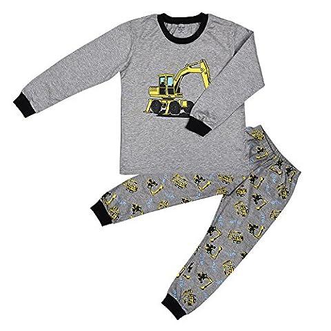 Little Sorrel Jungen Pyjama Schlafanzüge Lange Zweiteiliger Schlafanzug 2-7 Jahre, Grau, 98