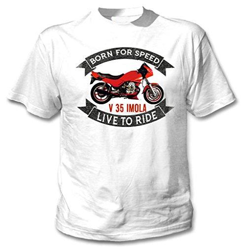 TEESANDENGINES Moto Guzzi V35 Imola Tshirt di Cotone da Uomo Bianca Size Medium