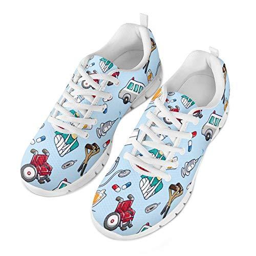 Coloranimal Spring Summer infirmière Appartements pour Femme Course à Pied  Marche Sneakers - - Nurse Pattern-5, 36