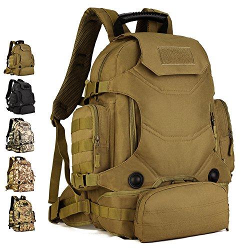 40L wasserdicht Tactical Military MOLLE Assault Rucksack Pack Rucksack Set Groß für Camping Wandern Angeln Jagd Reisen und EDC Wolf brown