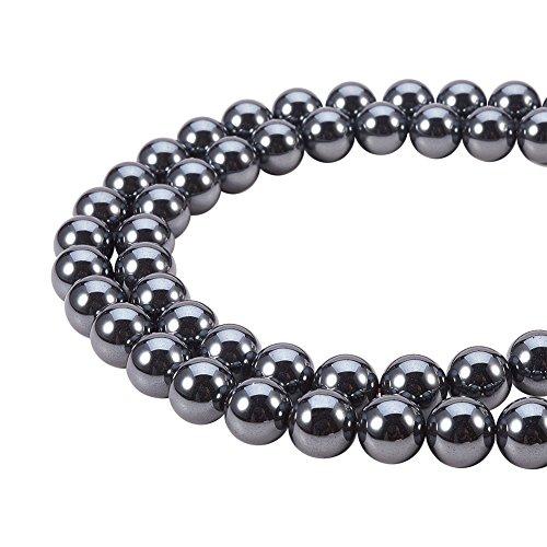 pandahall Elite Grade AAA schwarz Nicht magnetische synthetische Hämatit Edelstein Runde lose Perlen für Schmuck Machen (1 Stränge), rund, 8 mm, Bohrung: 1 mm; etwa 16 Zoll lang