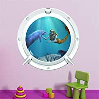 Red Parrot Graphics Dolphin and Mermaid sea ocean Porthole wall art sticker decal full colour print (Medium 40cm x 40cm) DM1