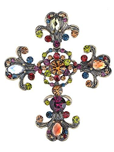 Alilang Frauen Antike inspiriert Wunderschöne Strass Heilig Kreuz Kostüm Halskette Anhänger Brosche (Antike Kostüm Schmuck Broschen)
